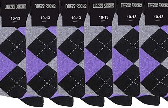 Groomsmen Purple and Black Argyle Sock (6) Pack-SOC119