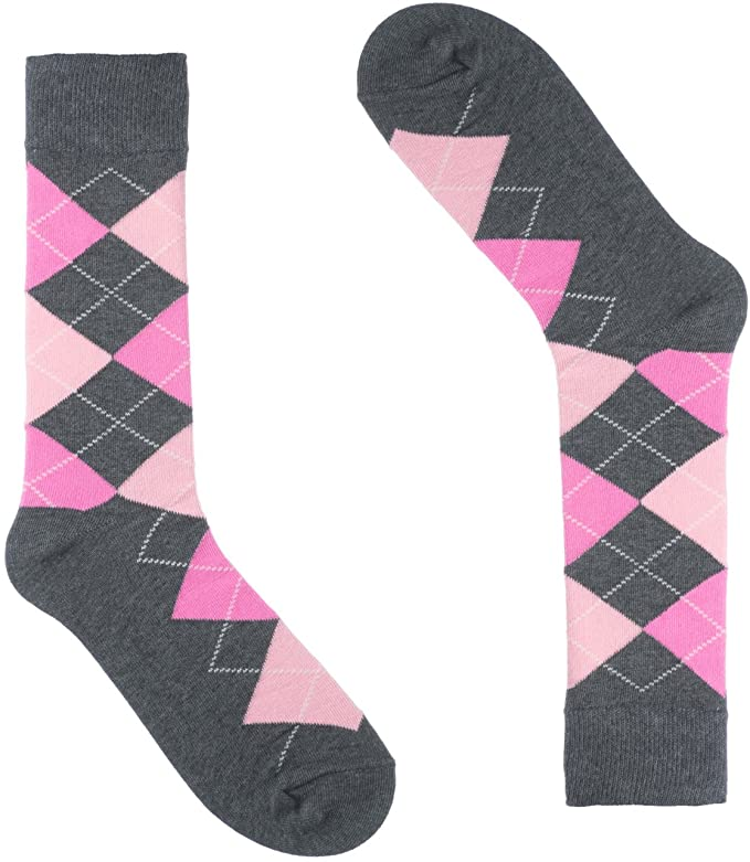 Groomsmen Grey and Pink Aryle Sock ( 6 ) Pack-SOC100