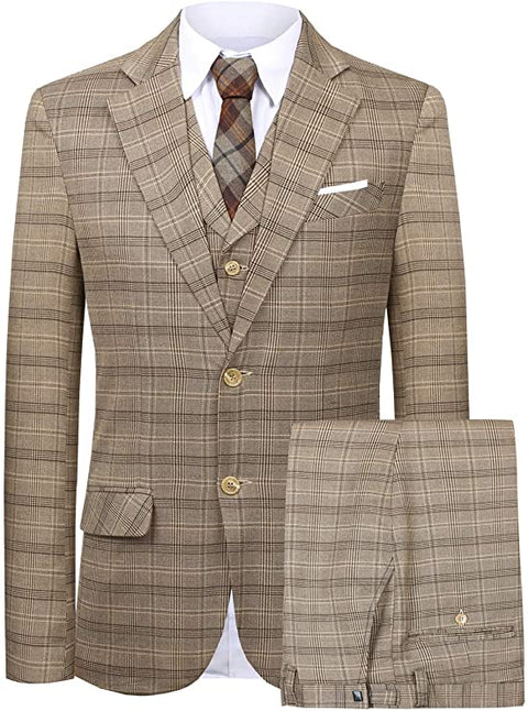 Mens Brown Plaid 3 Piece Dress Suit-SUT100