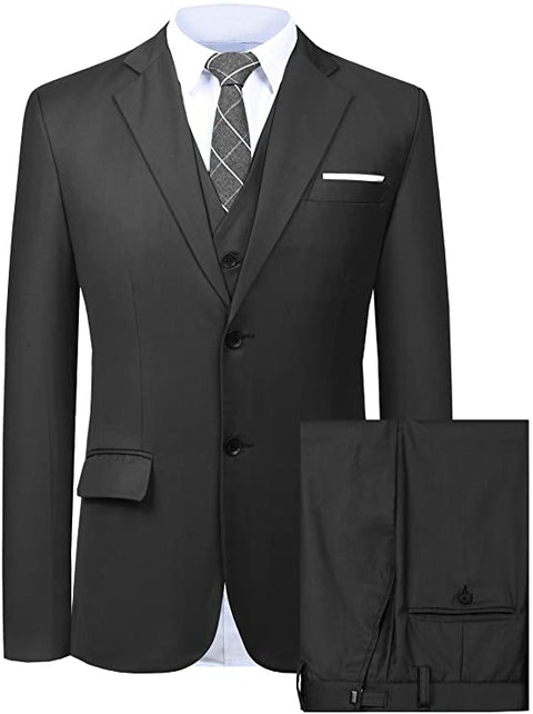 Mens Black 3 Piece Dress Suit-SUT102