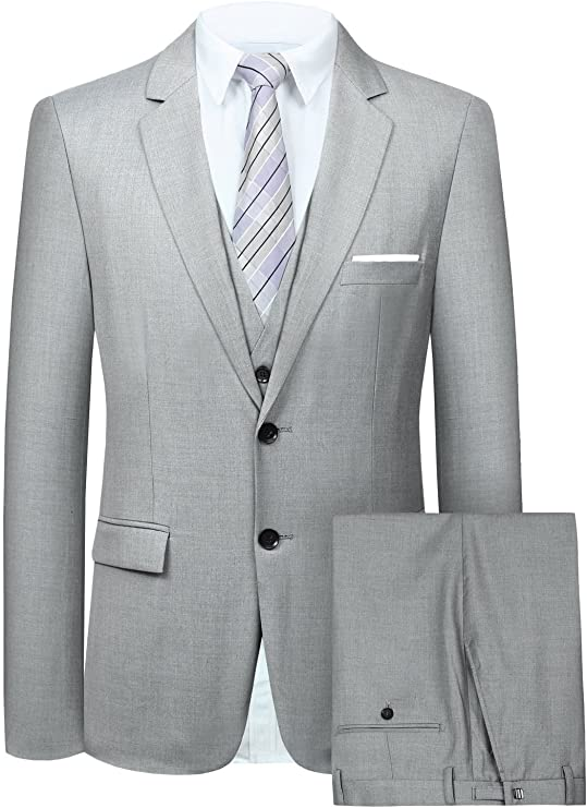 Mens Grey 3 Piece Dress Suit-SUT104