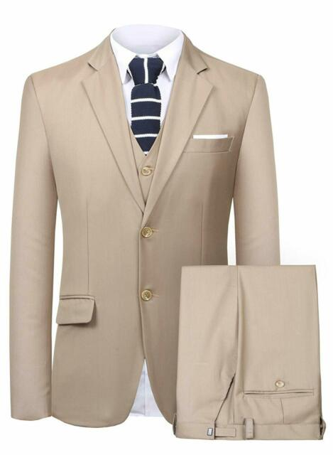 Mens Khaki 3Piece Dress Suit-sut105