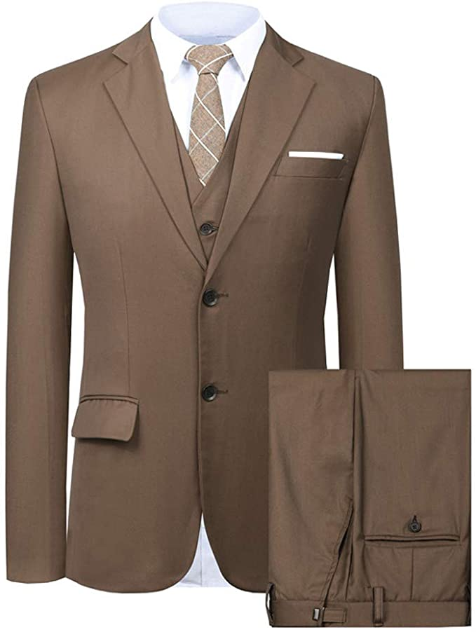 Mens Dark Brown 3 Piece Dress Suit-SUT106