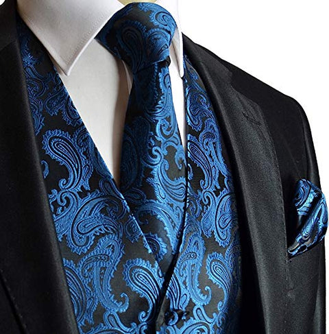 Metallic Blue Paisley Tuxedo Vest Set-VS106