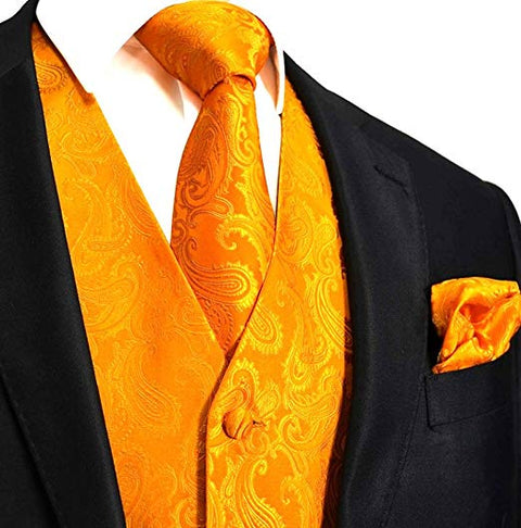 Orange Paisley Tuxedo Vest Set- VS107