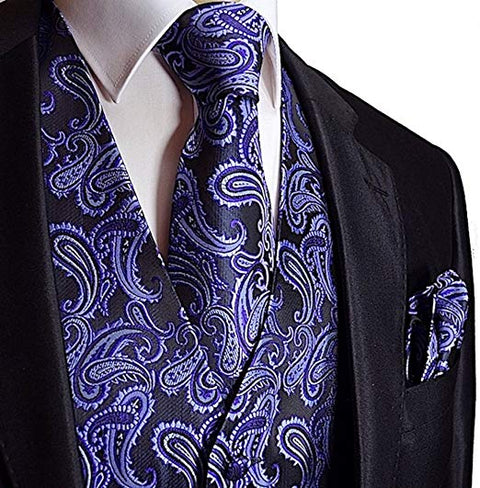 Purple and Black Paisley Tuxedo Vest Set -VS109