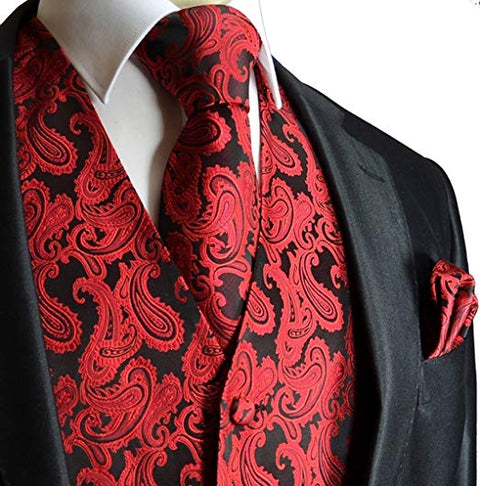 Red and Black Paisley Tuxedo Vest Set- VS111