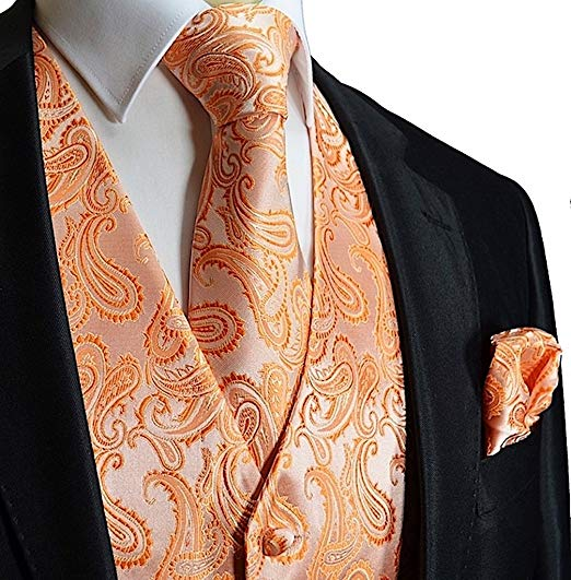 Tangerine Orange Paisley Tuxedo Vest Set- VS112