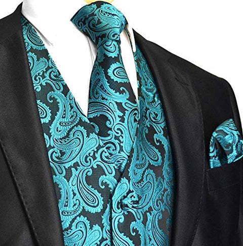 Teal Green Paisley Tuxedo Vest Set-VS114