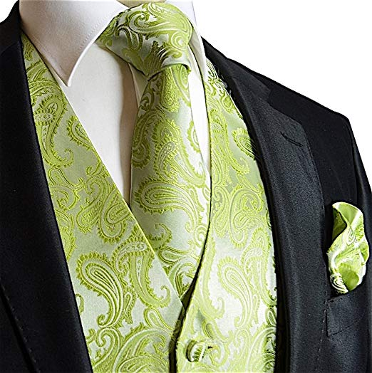 Lime Green Paisley Vest Set-VS119
