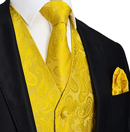 Yellow Gold Paisley Vest Set-VS124