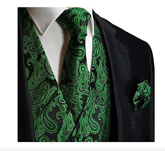Green and Black Paisley Vest Set-VS128