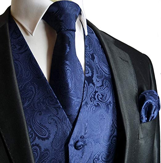 Navy Blue Paisley Vest Set-VS129