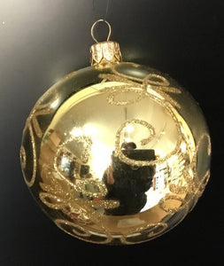 Gold metallic glass ball with gold glitter