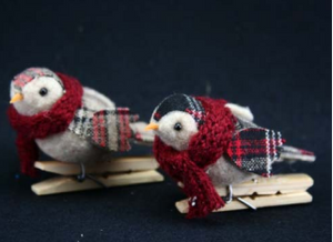 Fabric Bird on Peg 9cm long