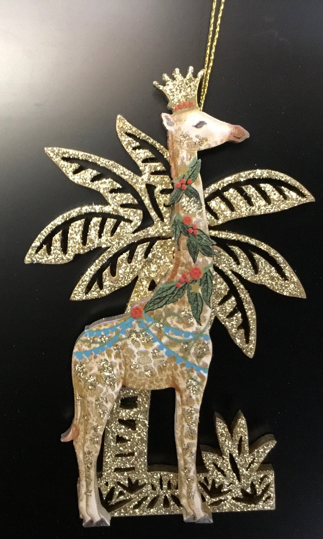 Wood giraffe with Glitter Palm Tree