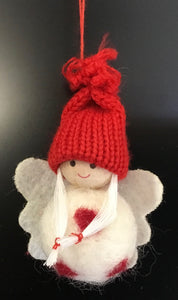 Fabric Ball Angel w Knitted Hat