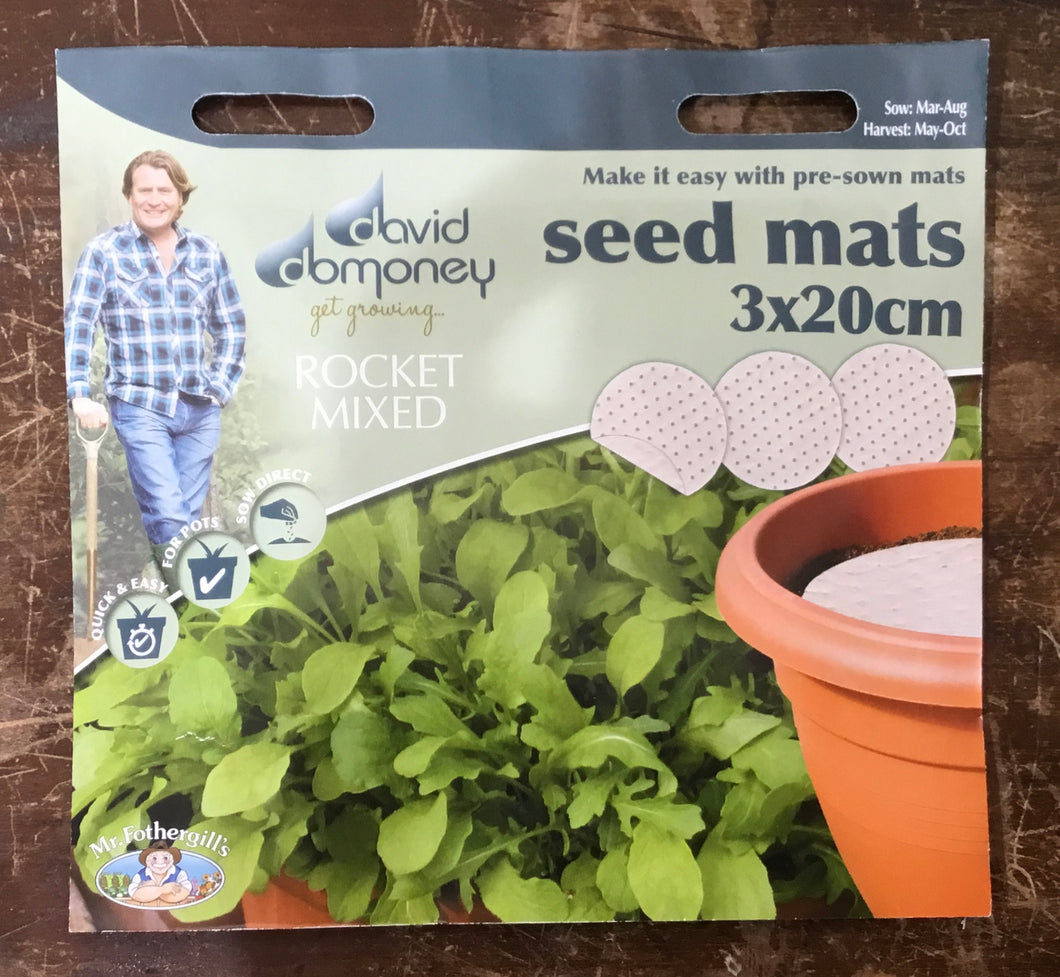 Rocket Mixed seed mats 3x 20cm - David Domoney Vegetables