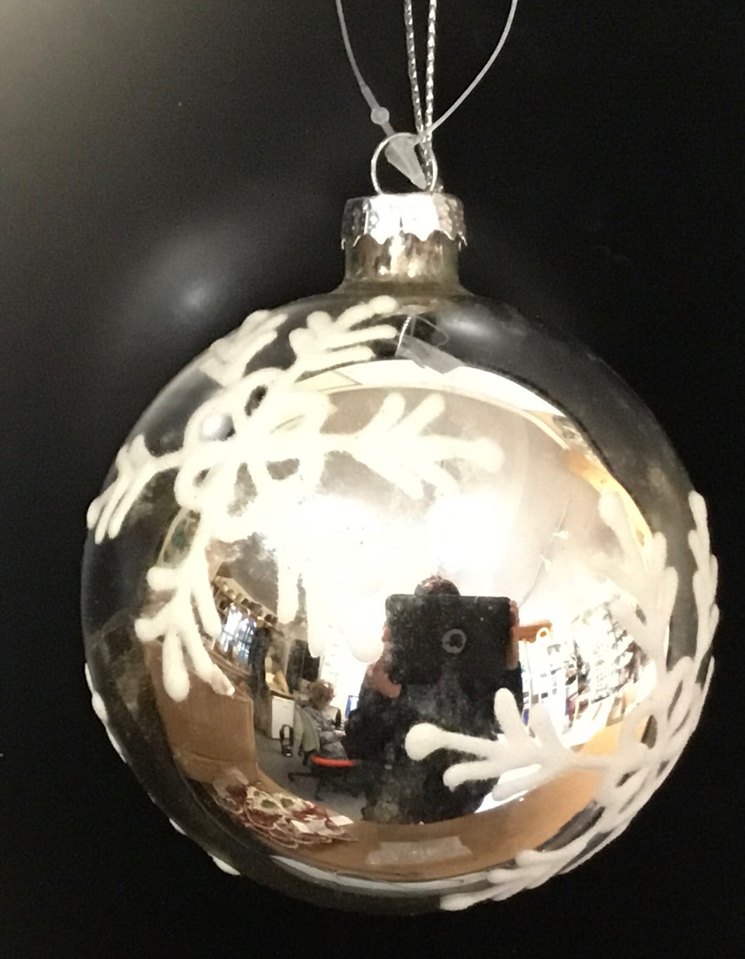 Silver metallic glass bauble with snowflake design