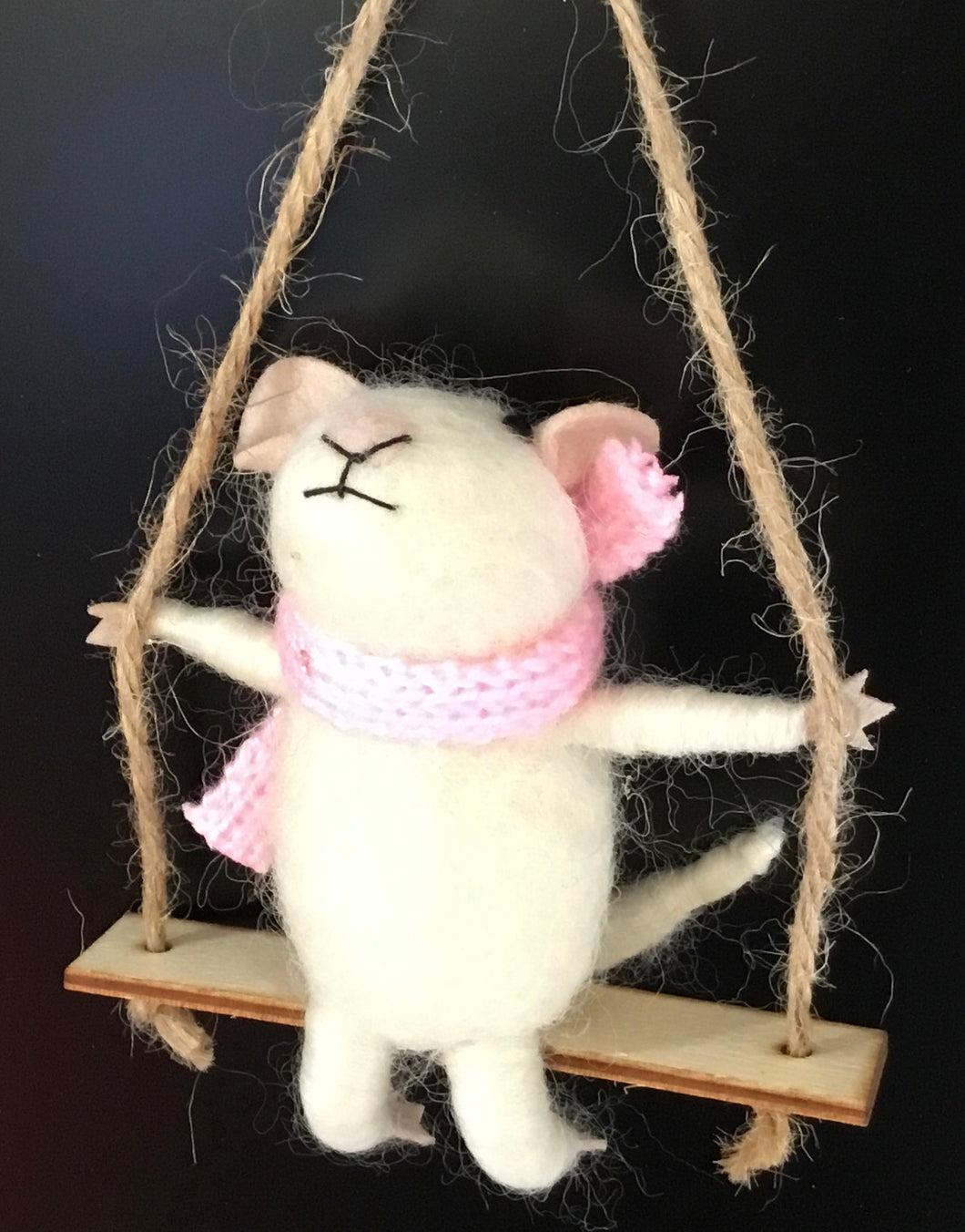 Mouse on swing - Eco Wool decorations