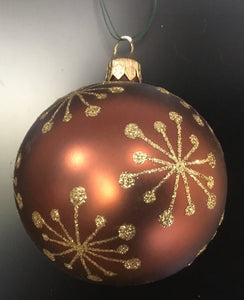 Bronze bauble with gold snowflakes