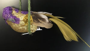 Purple/Gold glitter and Feather Clip On Bird