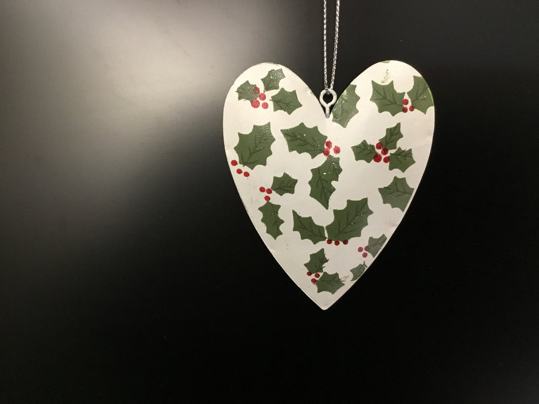 White tin heart with holly pattern 9cm