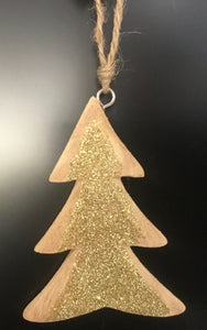 Wooden tree with gold glitter