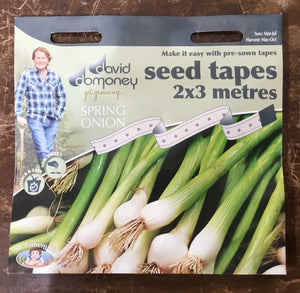 Spring Onion White Lisbon seed tapes 2x3 metres - David Domoney Vegetables