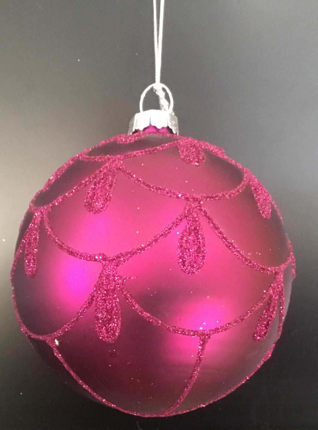 Frosted purple bauble with glitter garland pattern