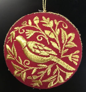 Red fabric ball with Gold thread bird design