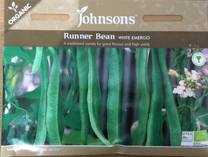Runner Bean White Emergo - Organic Vegetables