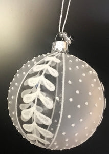 Clear white glass bauble with glitter leaf