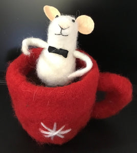 Mouse in Tea Cup 31881 - Eco Wool decorations