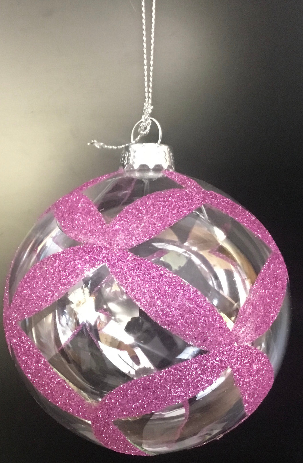 Clear bauble with purple glitter pattern