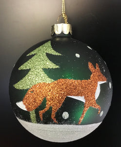 Painted Glass.Glitter Fox/Tree Ball