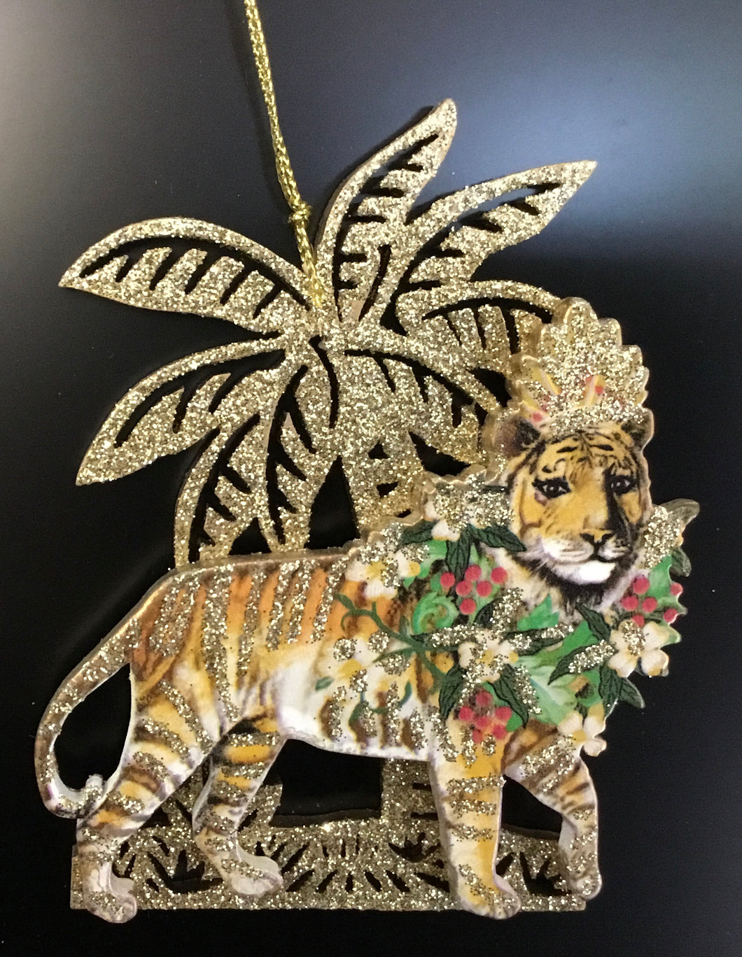 Wood tiger with Glitter Palm Tree