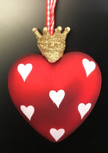 Red Glass Heart w Gold Crown