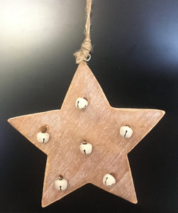 Wooden star with bells