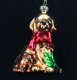 Painted Glass Dog w Red Bow 03876
