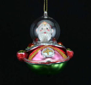 Painted Glass Santa in space ship