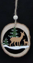 Load image into Gallery viewer, Painted Log  Disc w Deers, 9cm