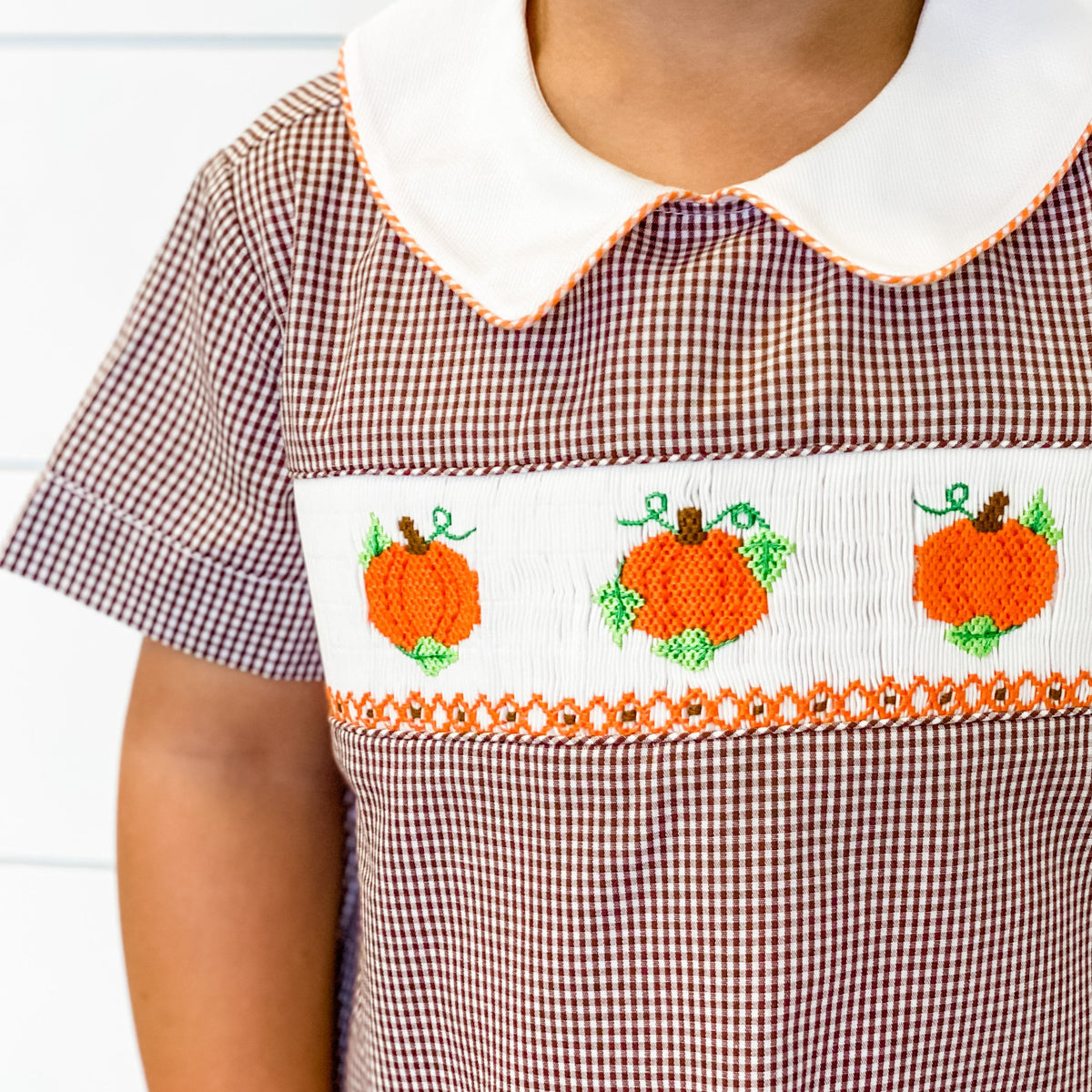 Smocked Harvest Pumpkins Collared Boy Long Bubble - Brown Gingham