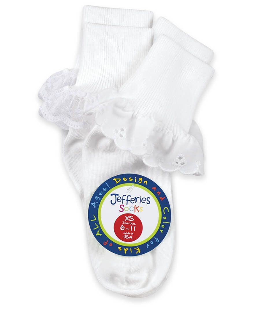 Jefferies Sisters Lace Socks Two Pair Pack - White