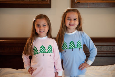 Blue Knit Green Gingham Christmas Tree Pajama Set