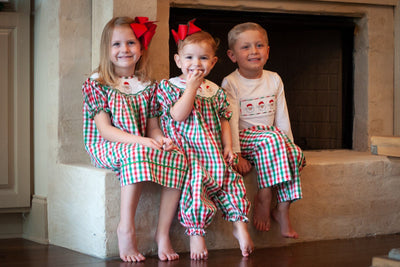 RED AND GREEN GINGHAM SMOCKED SANTA SET