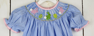 SMOCKED EASTER BUNNY & EGG BUBBLE