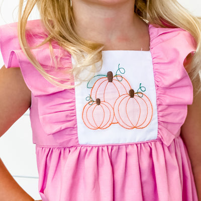 Shadow Stitch Pumpkin Pink Pinafore