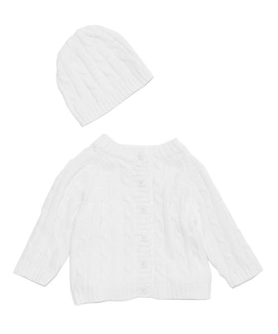 Signature Cardigan & Hat Gift Set - White