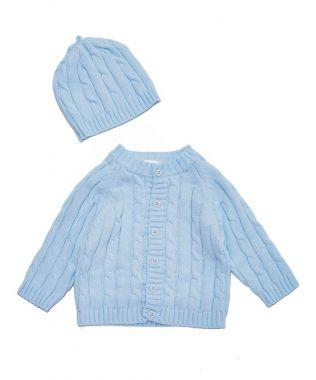 Signature Cardigan & Hat Gift Set - Blue